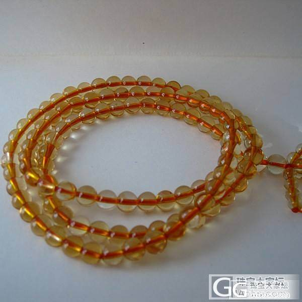 顶级巴西天然黄水晶108颗佛珠手链 ..._宝石