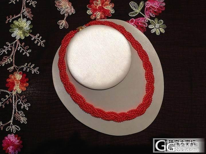 天然红珊瑚沙丁珠珠6股编织项链_有机宝石