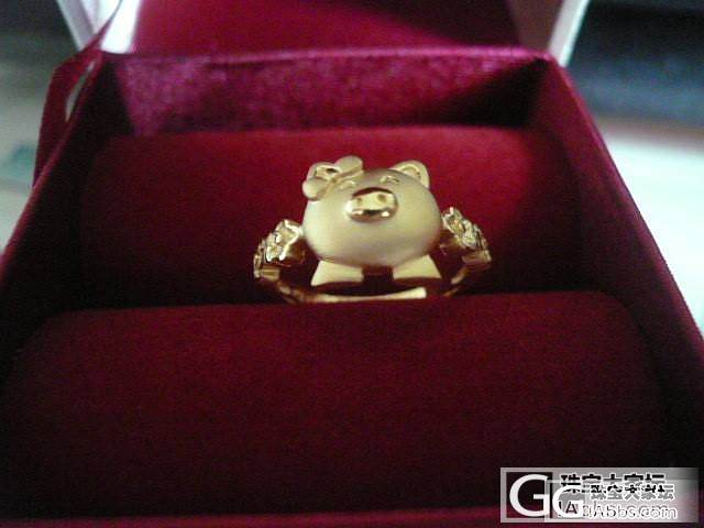 猪猪戒指和猪猪镯链 上手秀_手镯戒指金