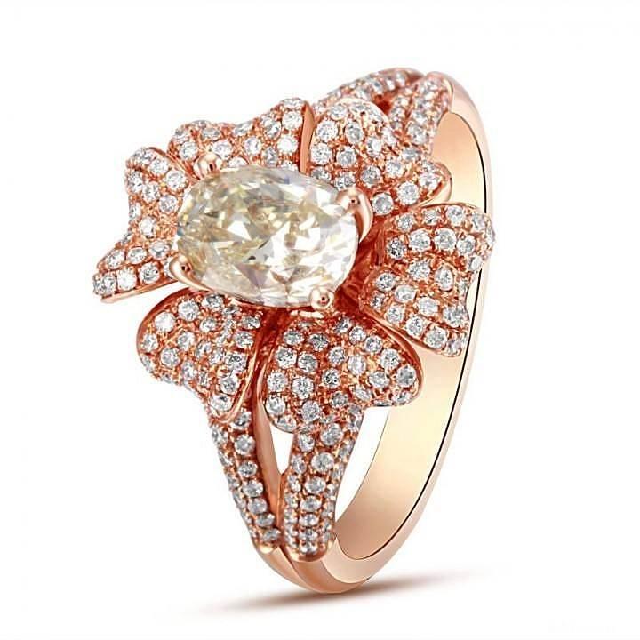 【先恩尼】1克拉椭圆钻 豪华群镶 双戒臂 繁花似锦。_钻石
