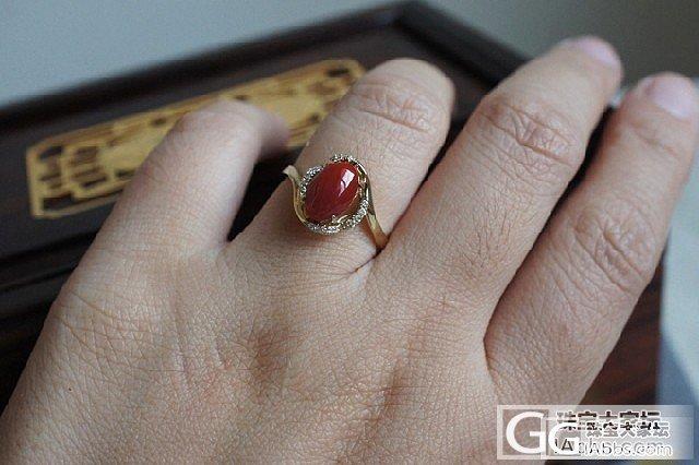 天然红珊瑚 AKA 阿卡 牛血红 18K金镶嵌钻 戒指 B3 2.76g 15号_有机宝石