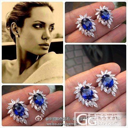 收藏级别的蓝宝石耳钉。 5.04ct..._中颐彩色宝石