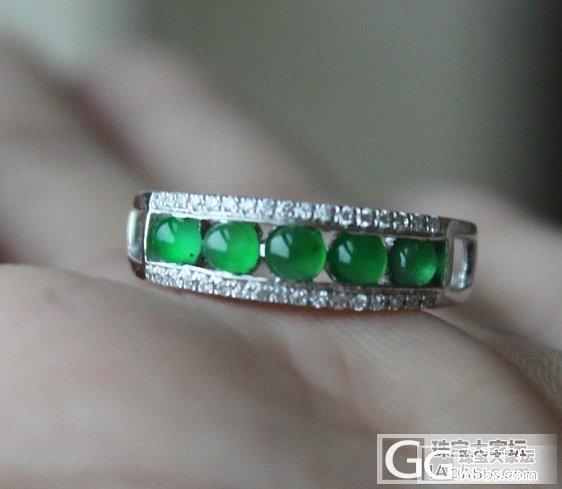 转一个阳绿小豆圈号12的18K白戒指_翡翠