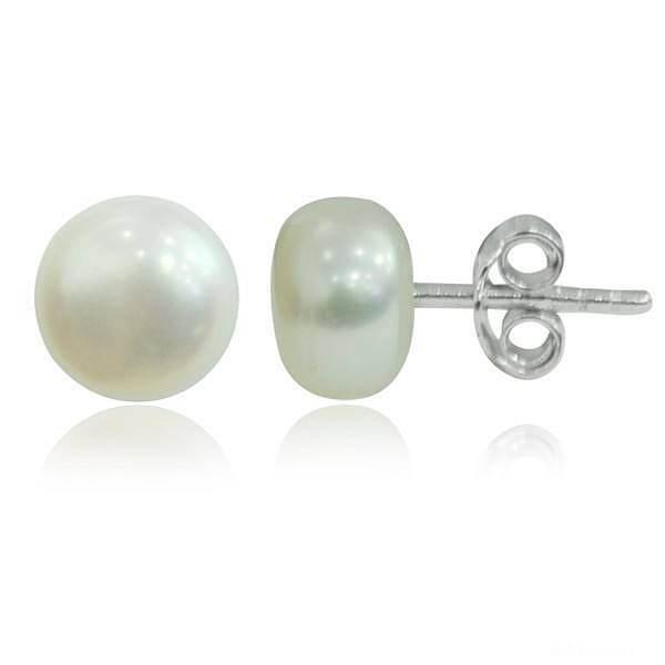 全网最低价7MM天然珍珠耳钉耳环,数..._银