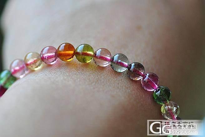 通透油艳  6mm的全彩玻璃体碧玺手..._宝石