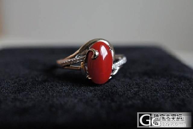 天然红珊瑚 AKA 阿卡 牛血红 18K金镶嵌钻 戒指 B5 3.06g 14号_有机宝石