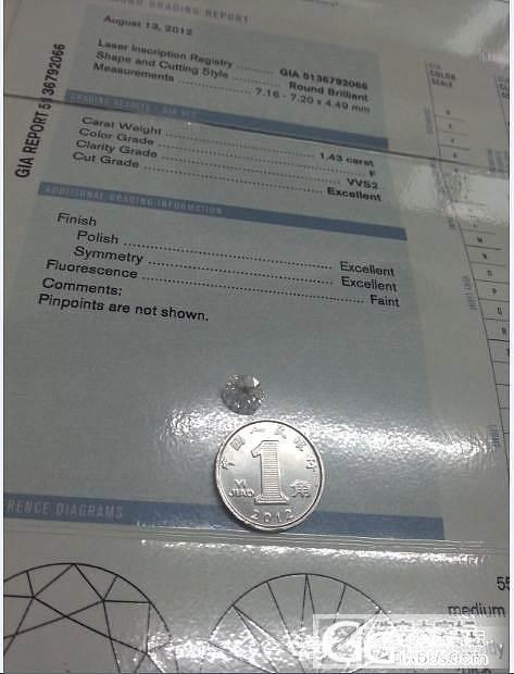晒晒 1.43 F VVS2 3EX..._钻石