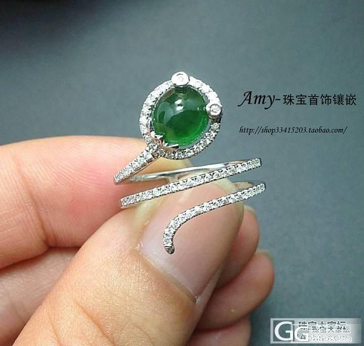 可爱啵,小蛇戒指。_镶嵌珠宝