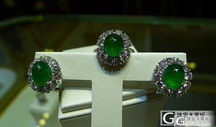 蛋面套装- 素面祖母绿戒指与耳钉的组..._祖母绿