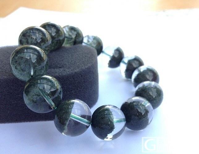 多年前收来的绿幽灵聚宝盆…18MM大..._绿幽灵珠串