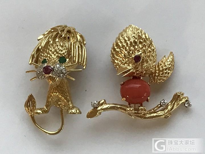 古董展上收获的几个小可爱,18K金,镶嵌的都是真宝石