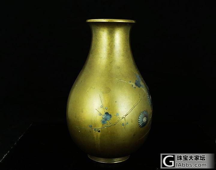 日本江户时期 铜错金银 浮雕花卉 铜花瓶摆件 花插 花