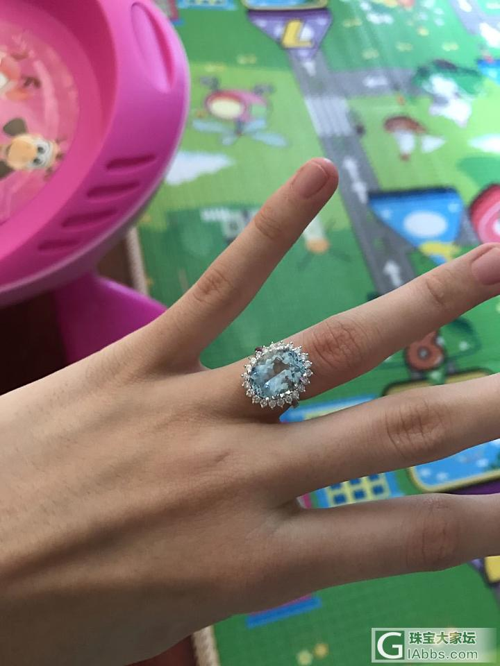 今天刚到的收坛里妹子的海蓝宝戒指_戒指海蓝宝