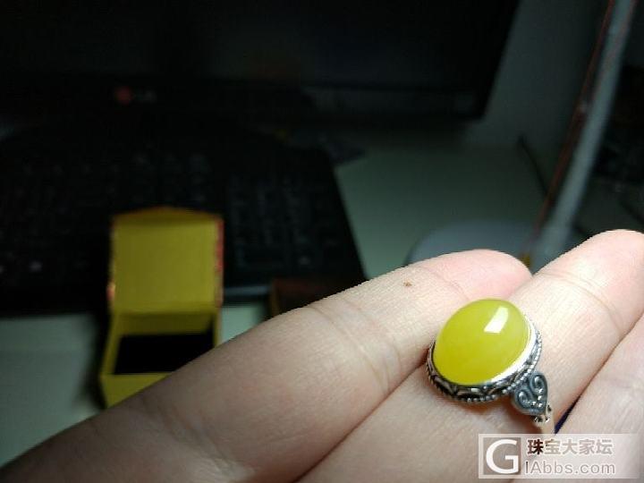 晒晒自己做的一枚小戒_戒指琥珀蜜蜡