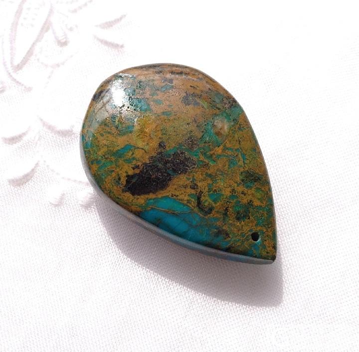 《一网情深》—— 亚利桑那凤凰石(硅孔雀石)与绿松石共生,背景像极梵高的向日葵!_挂件少见宝石