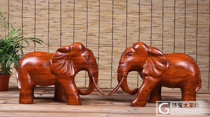 非洲花梨木,萌萌哒的小象。用红木做这种小动物,格外萌,禁欲系的感觉😄_木雕
