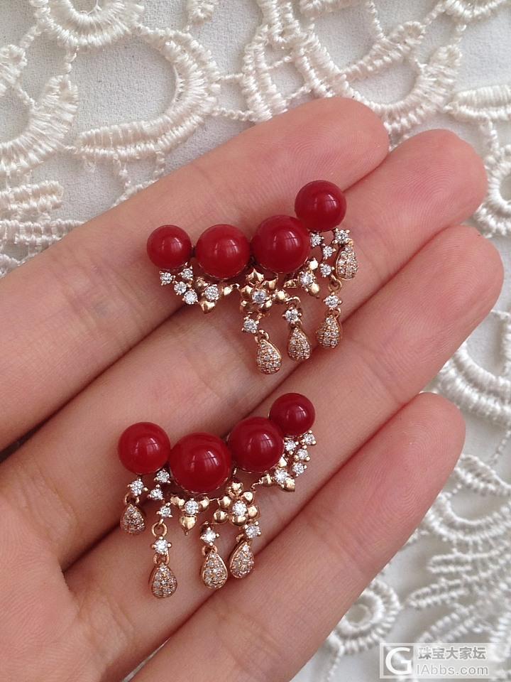 阿卡珊瑚圆珠耳钉 18k玫瑰金钻石镶嵌 设计款 高货