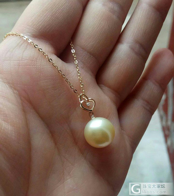 18k南洋金珠12.4mm珍珠吊坠项链_有机宝石