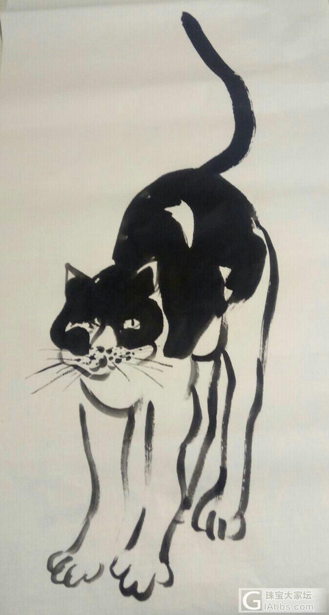 一匹懒猫_国画