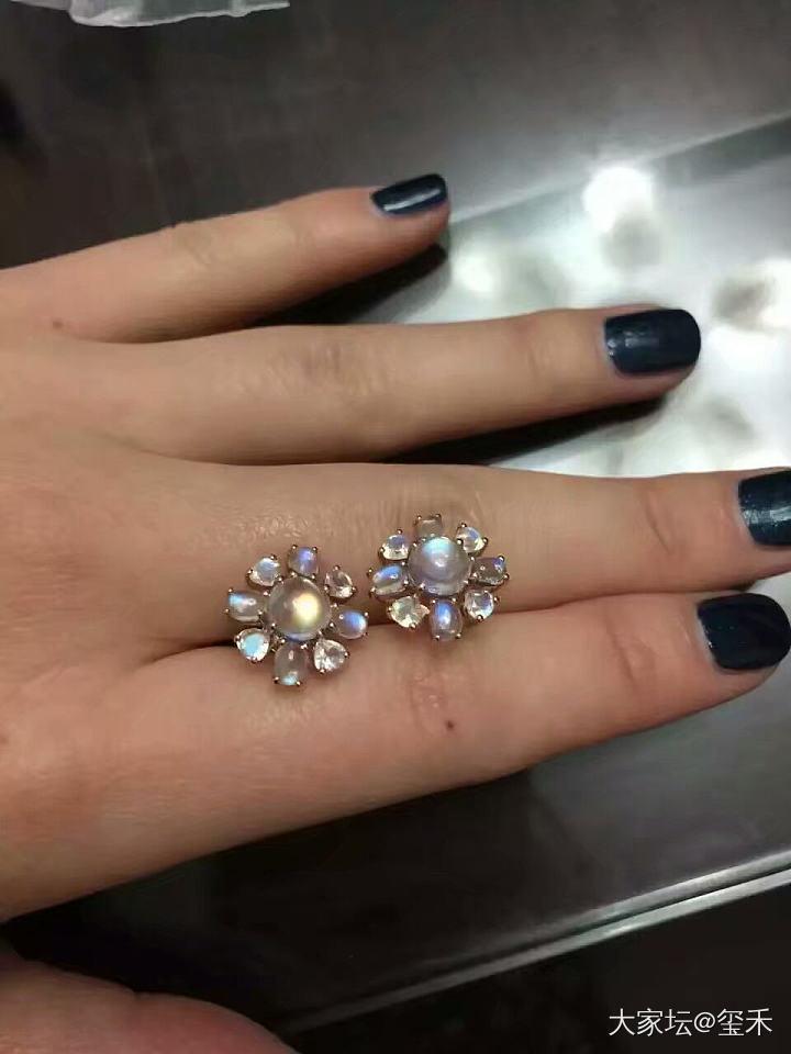 18k玫瑰金月光石戒指,耳钉_彩色宝石