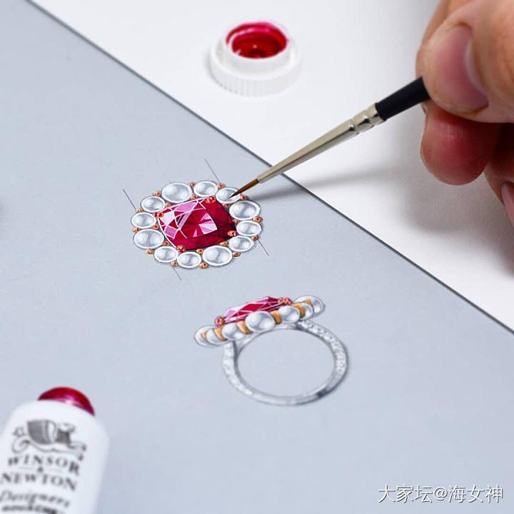红宝石与珍珠搭配的戒指珠宝设计手绘水彩临摹素材图 _设计