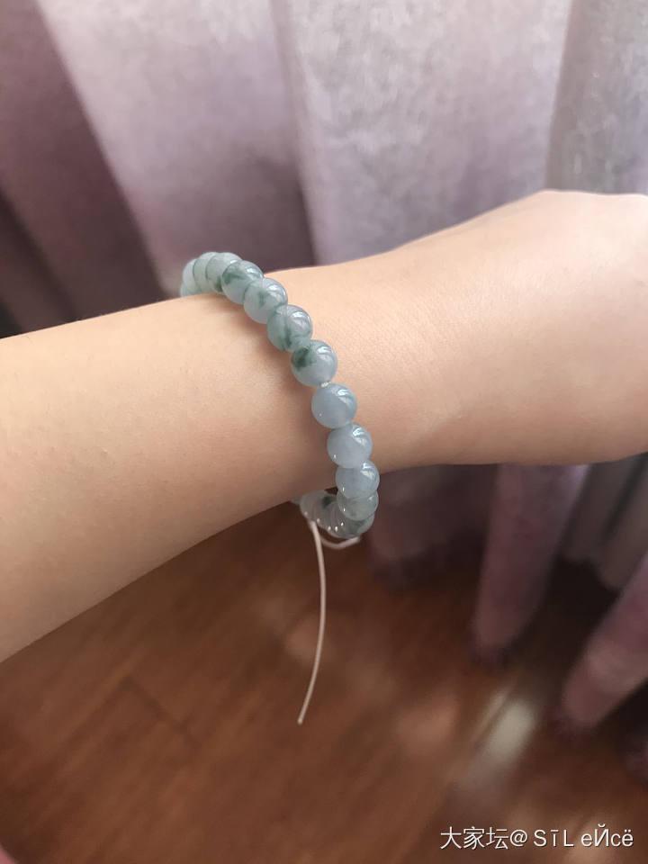 蓝紫色翡翠飘花手串 珠子_翡翠