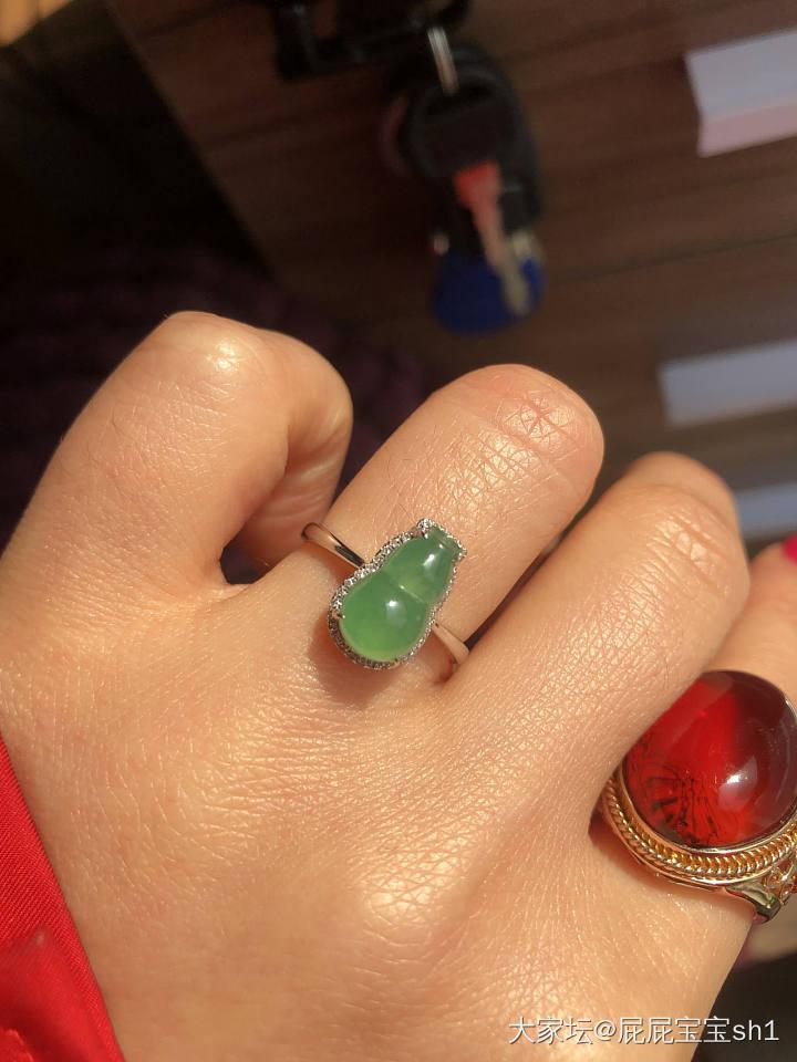 18K金南非真钻镶冰种翡翠葫芦戒指有证书_翡翠