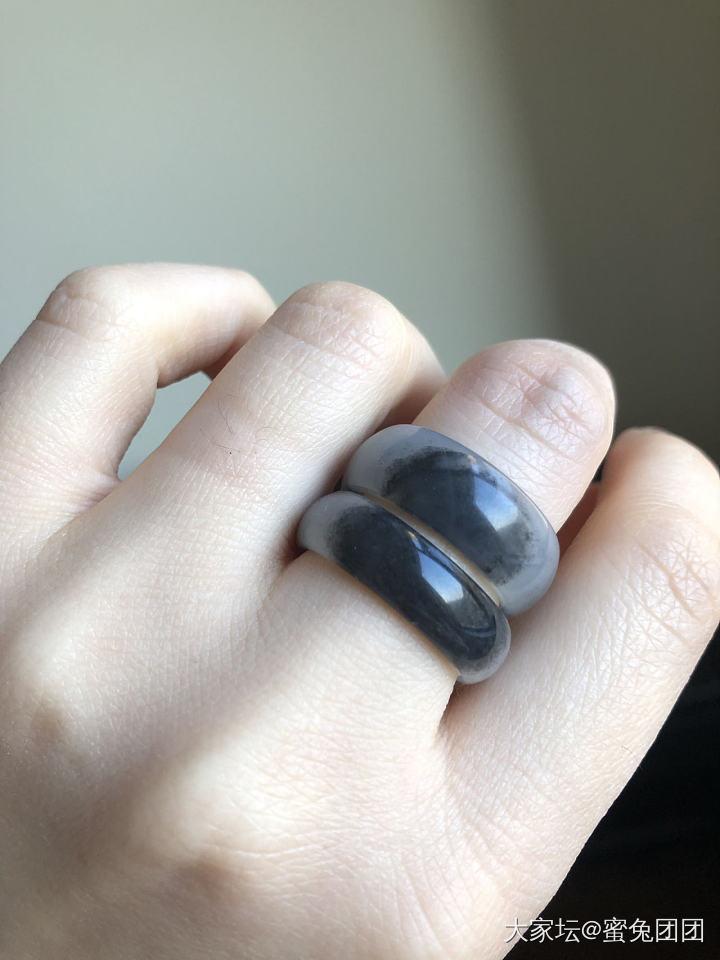 和田玉青花戒指指环-凑镶嵌的米_和田玉