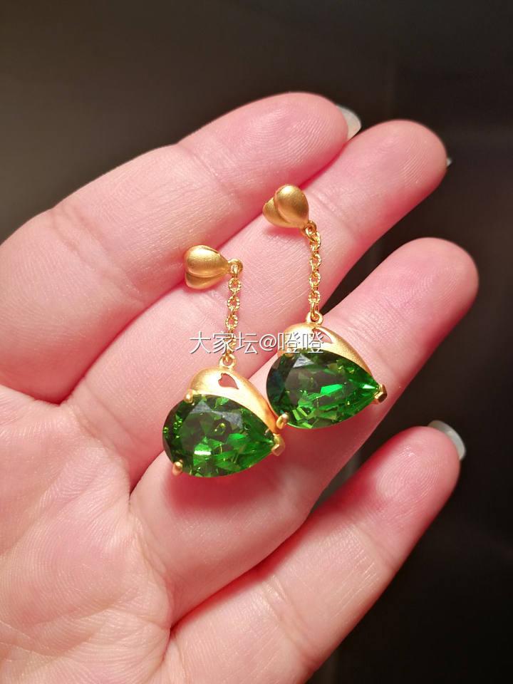 第可 欣心 绿色 水晶 耳坠  足金镭射珠 素链 46cm,13g多_金