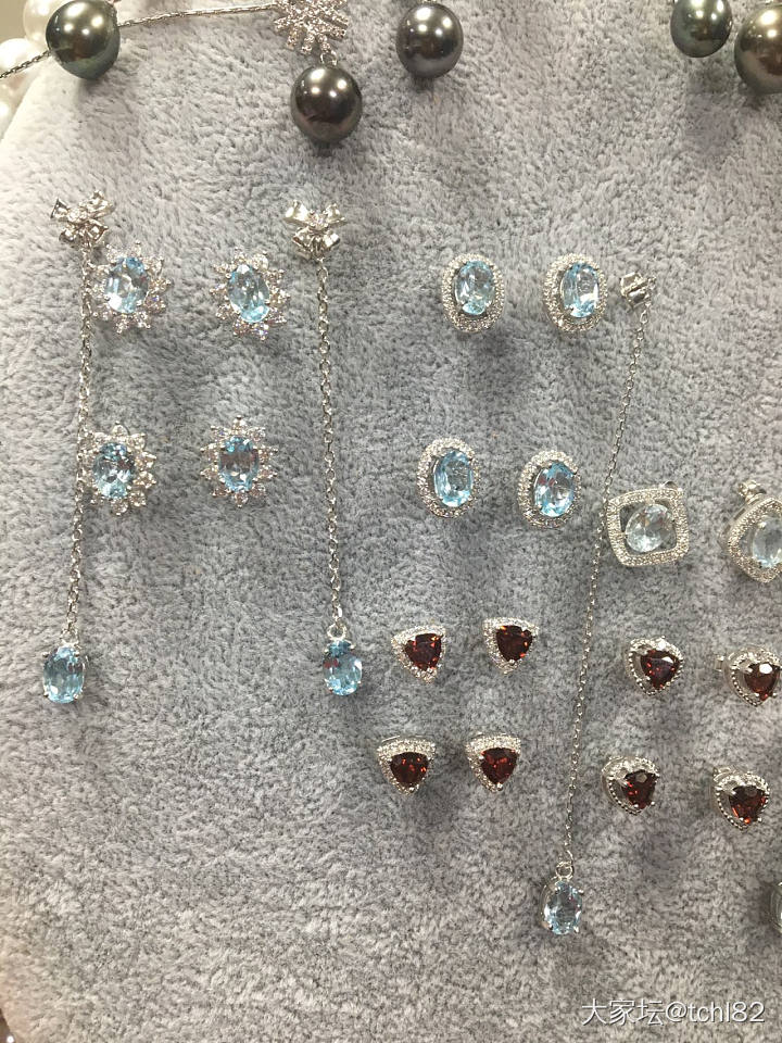 银镶彩宝一大堆—天空蓝托帕石套装、石榴石套装_彩色宝石