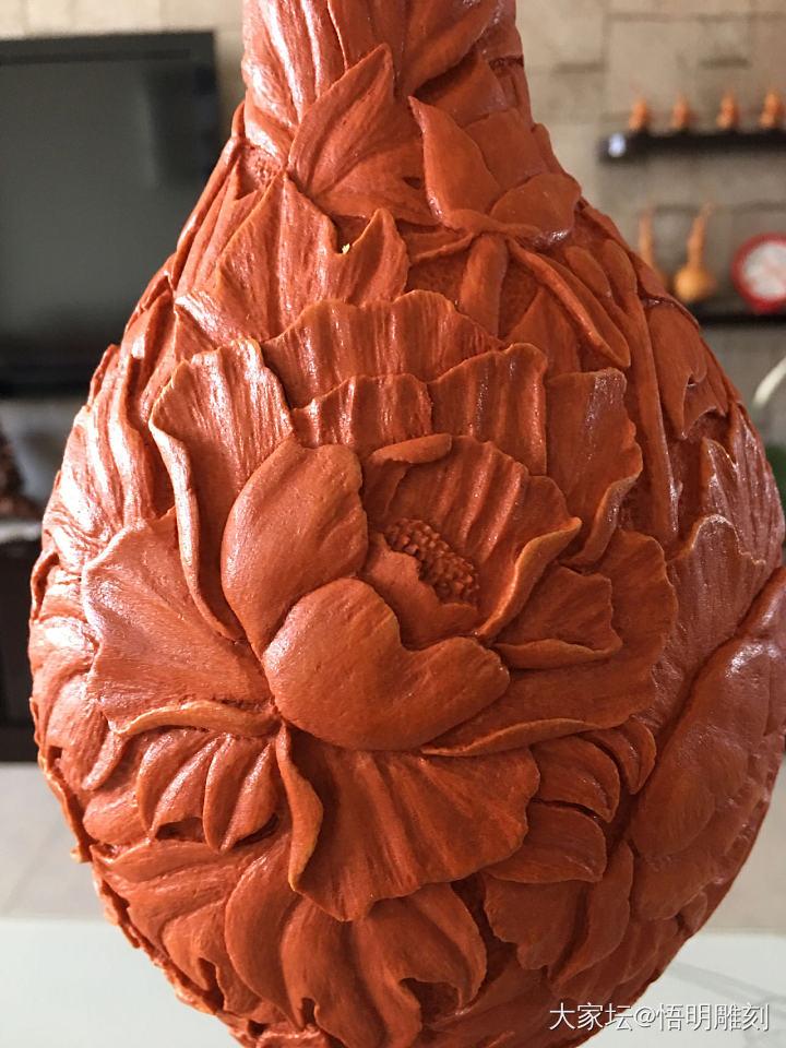 手工雕刻葫芦《花开富贵》_雕刻