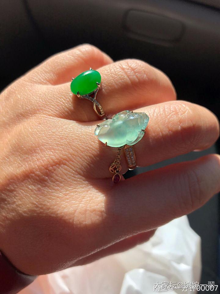 阳绿钥匙吊坠,金蟾戒指、叶子了_翡翠