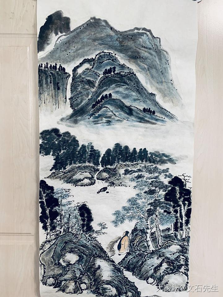 溪山行旅图 己亥年夏文石作。_国画书画