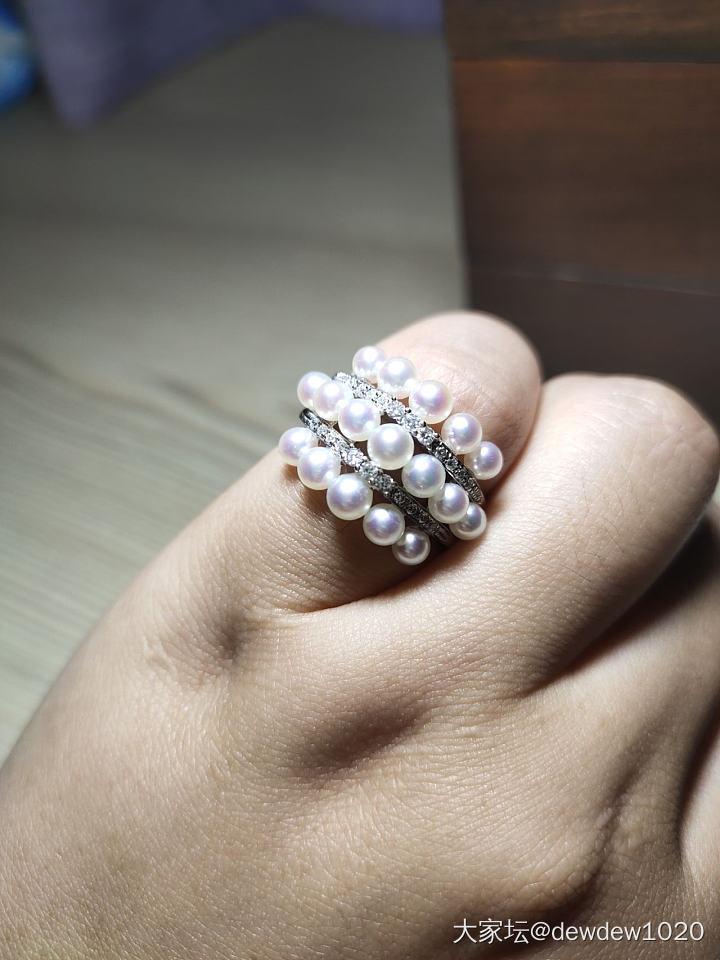 日本专柜品质精工极品天女akoya珍珠配钻戒指_有机宝石