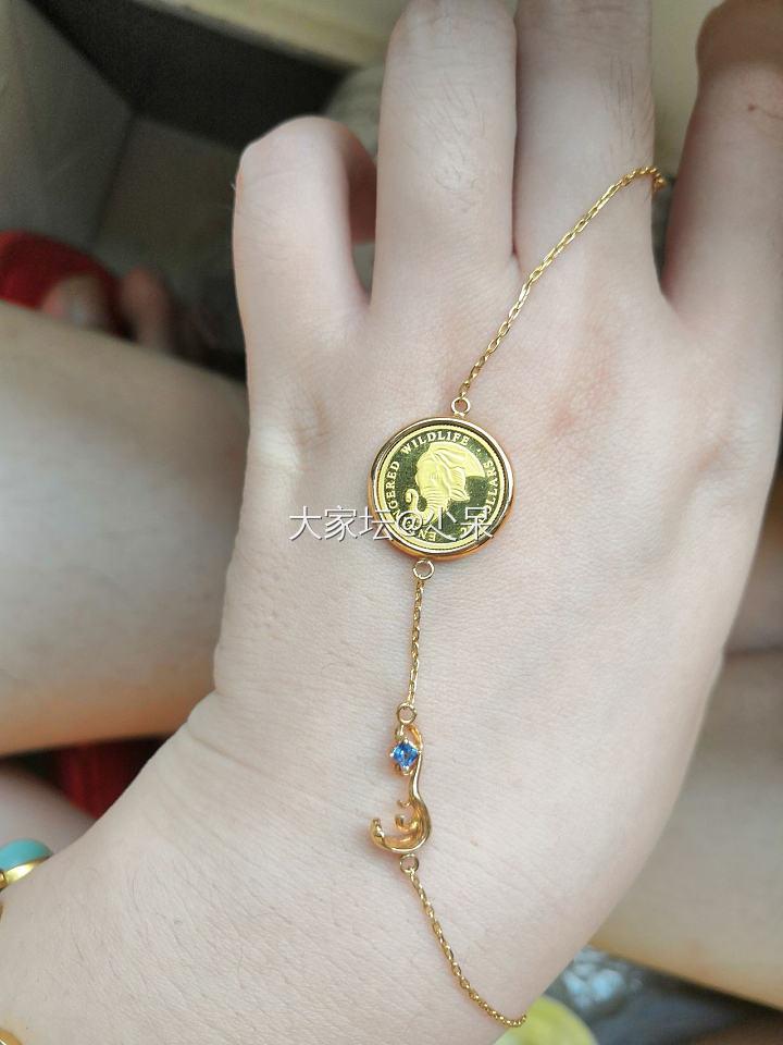 18K金金币手链_金