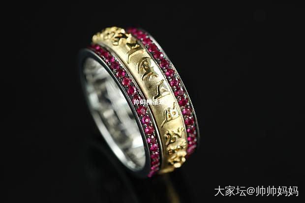 18k白黄金钻石红宝石密宗宽版戒指_首饰