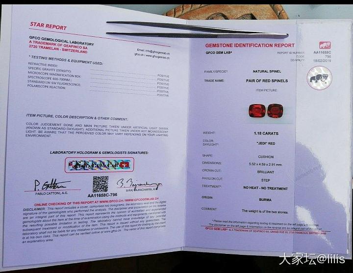 GFCO 出的绝地红证书 奇文共赏_机构证书尖晶石