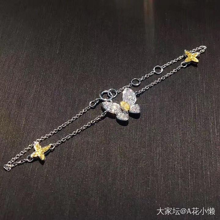 马眼黄钻钻石蝴蝶手链_首饰