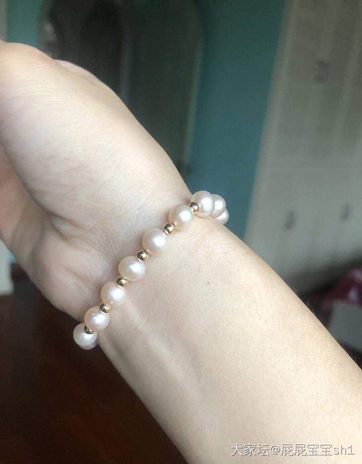 18k纯金珠天然淡水珍珠南红手链_首饰