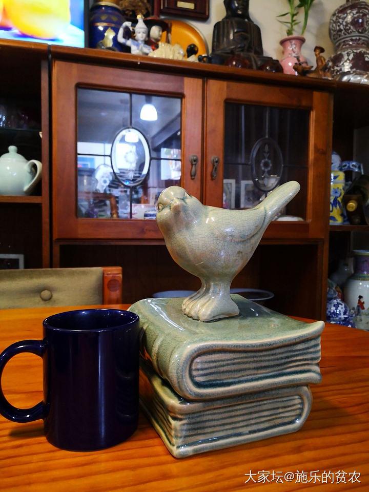 青釉陶瓷书夹,小鸟不识字_陶瓷