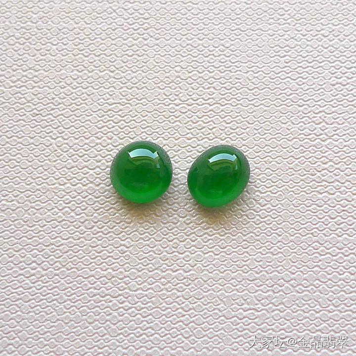 緬甸A貨翡翠老坑冰種辣綠翡翠蛋面一對T1114-13_翡翠