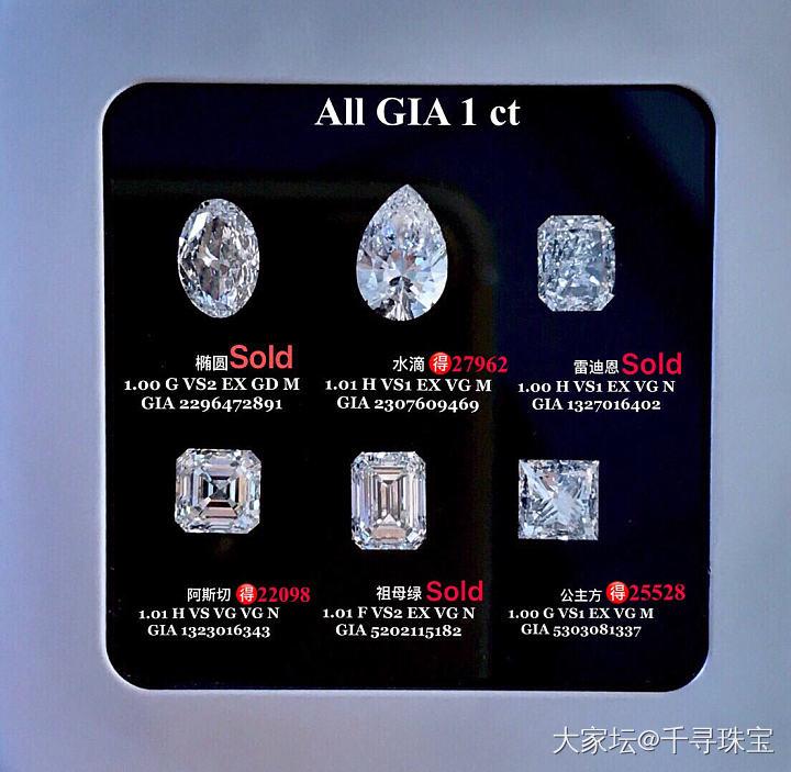 1克拉异形钻各形状合集GIA现货_钻石千寻珠宝