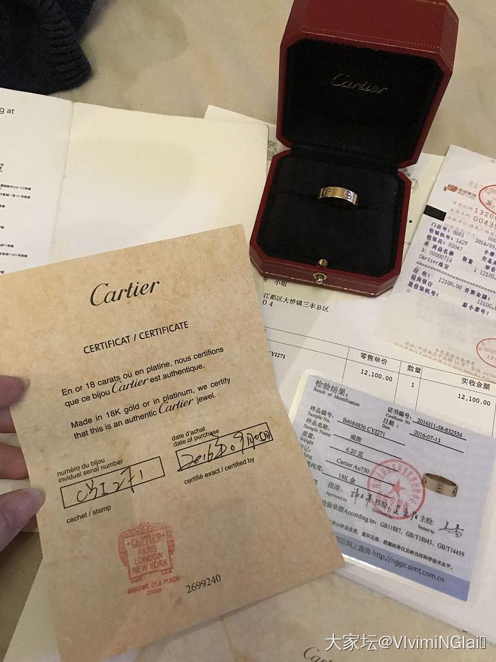 Cartier宽版玫瑰金Love戒指56号_金