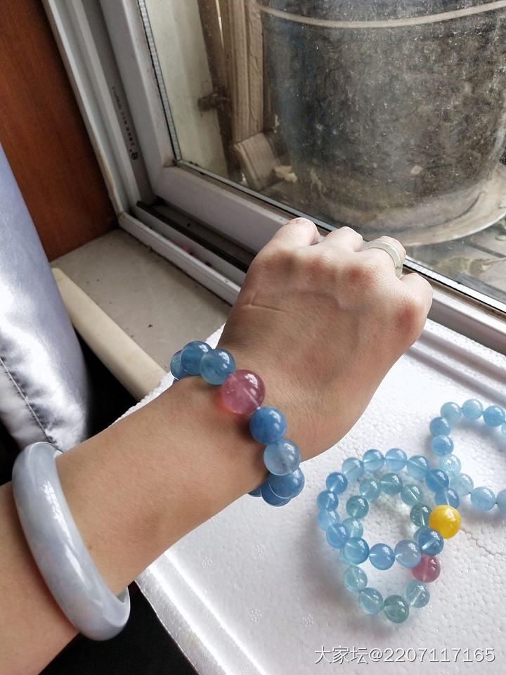 天然海蓝宝手链 13mm左右_彩色宝石