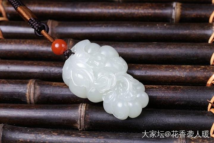 【花香袭人暖】多子多福2号-和田玉高青白籽料母子南瓜手把件独籽_和田玉