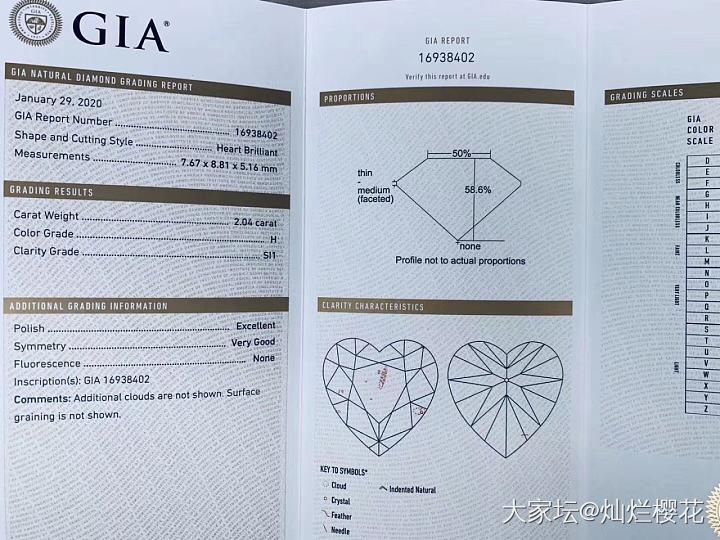 隆重推荐一颗小胖❤️ 2.04克拉 H SI1 EX VG N 这颗形态饱满 参数..._钻石认证商