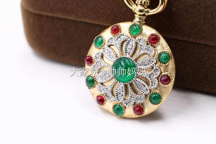 18K黄金钻石祖母绿红宝石吊坠相片夹香囊多用款_名贵宝石