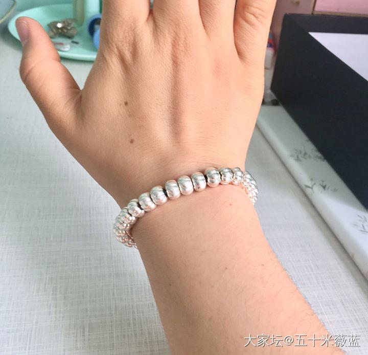 手工纯银南瓜珠手串_银