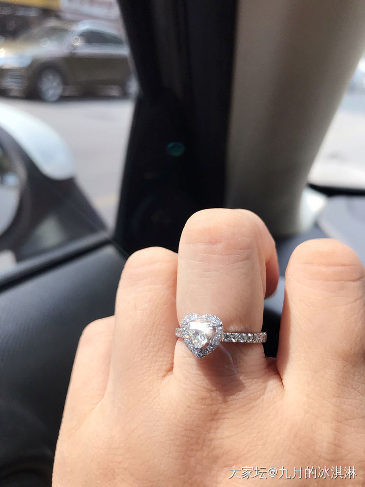 一起晒一晒好看的心形钻石吧_异形钻戒指