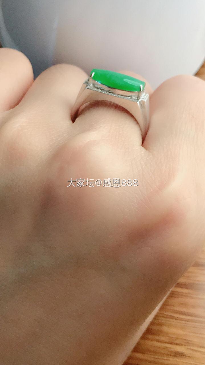 18K厚金镶嵌 超大超厚翡翠戒指 无纹无裂_翡翠